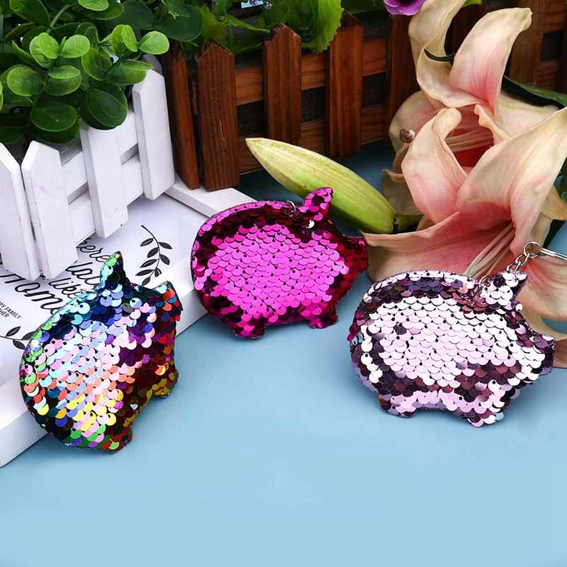 Kawaii Chaveiro Porco Chaveiro Pompom Glitter Lantejoulas Saco de Presentes Chaveiro para As Mulheres Carro Llaveros Mujer Acessórios Chave Anel