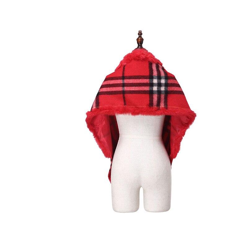 ZY87036 2016 nouveau Design spécial mode femmes automne hiver géométrique écharpe laine avec col de lapin de luxe enveloppes Poncho - 5