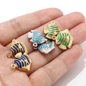 10 шт., подвески из нержавеющей стали в виде морской рыбы для изготовления ювелирных украшений, Золотая эмаль, тропические подвески-рыбки, ша...