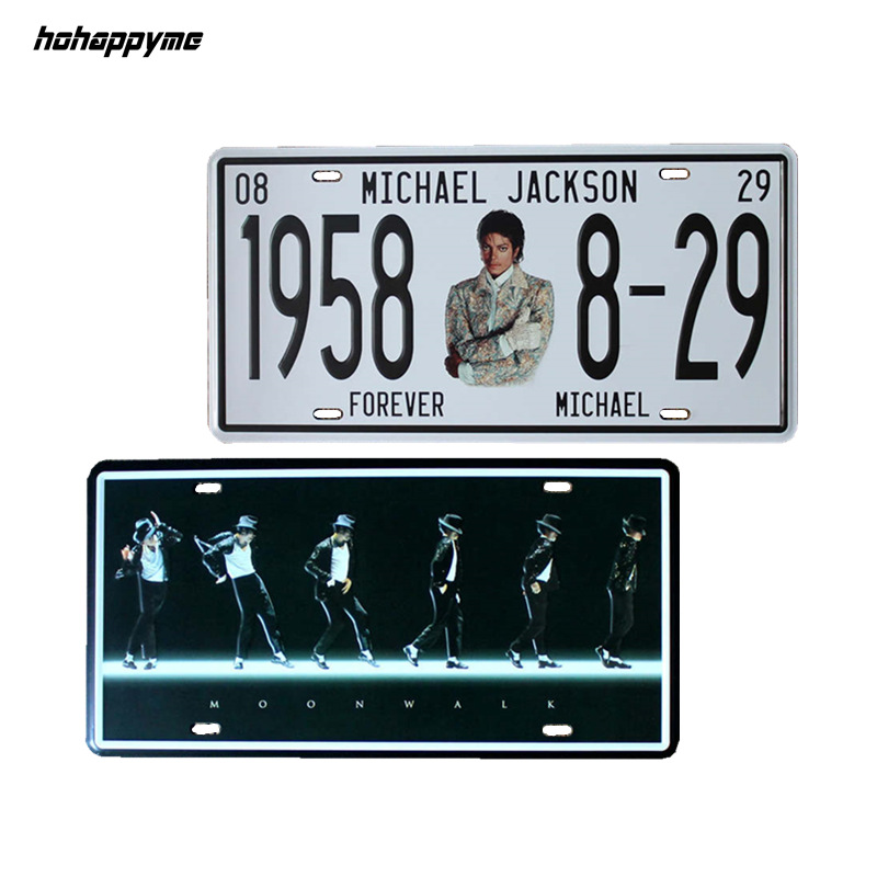 15x30 CM Michael Jackson License Plates Retro Art Wall Plaque Coffee Metal Signs Plaque Metal Vintage Pub