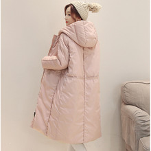 New Women Winter Long Section Of Thick Warm Solid Down Cotton Hooded Padded Jacket Wide-waisted Down Coat