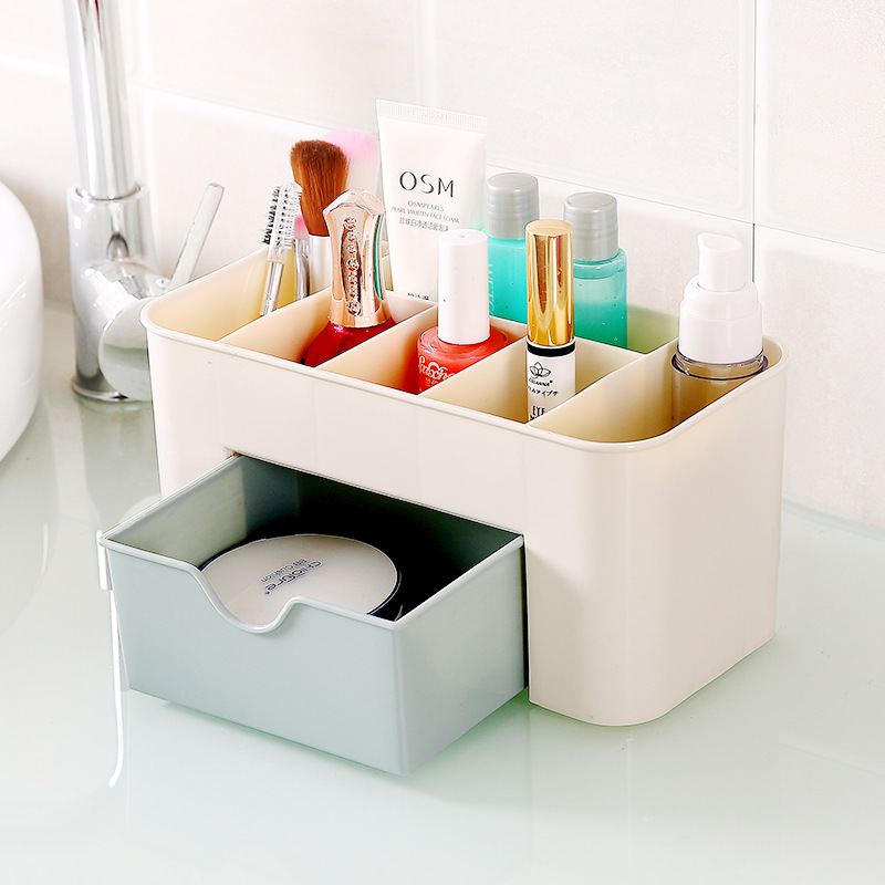 Women Desktop 6 Grid Makeup Organizer Cosmetic Storage Box with Drawer Dressing Table Space Saving Cosmetic jewelry Organizer makeup organizer box
