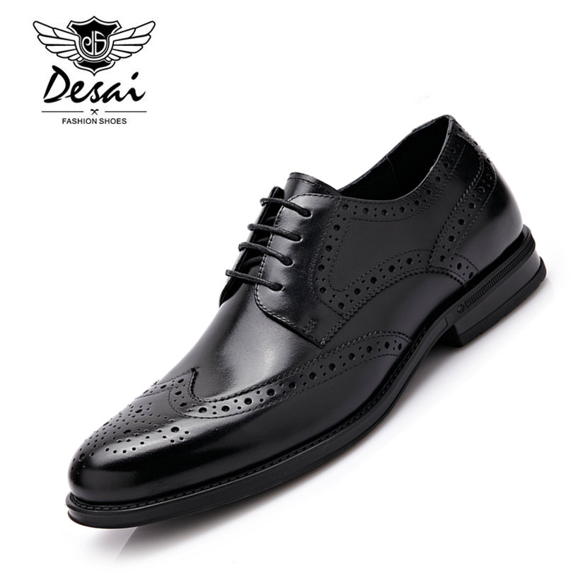 Desai Brand British Style Genuine Leather Shoe Man Lace Up Pointed Toe Brogue Shoes Fashion Wedding Shoes Male Size 38-43 krusdan british style brand man handmad semi brogue shoes genuine leather round toe lace up men s cowboy martin ankle boots nk56