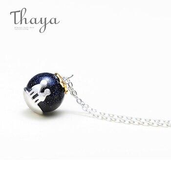 88bce27acfb2 Thaya fiesta azul grava Colgante de Piedra de Gema collar S925 de plata  esterlina de los