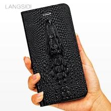 LANGSIDI Flip Card stand cover for Huawei p30 lite p20 p10 mate 20 10 9 pro Honor10 8X Nova Crocodile skull Genuine Leather case
