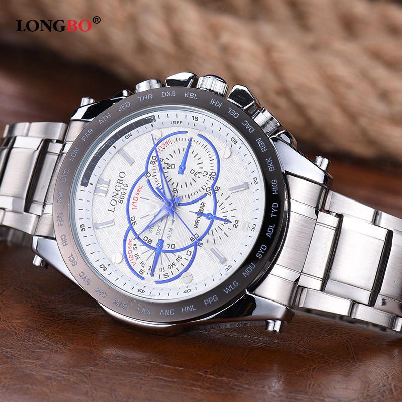 Fashion LONGBO Brand Man Watch Men Stainless Steel Strap Luxury Quartz Wristwatch Mens Business Watches Man Clock Relojes Hombre