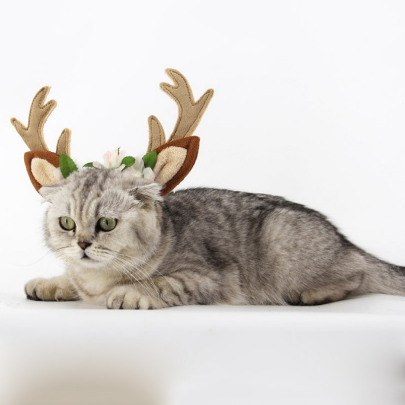 Christmas Deer Style Dog Cat Headdress Lovely Pet Puppy Hat Cap Christmas Decoration for Small Dog Chihuahua Newest