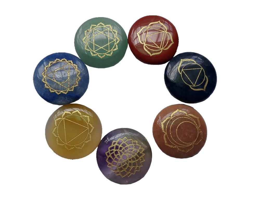 Reiki Chakra Stones Penyembuhan w / Chakra Kasus Set dari 7 Chakra - Perhiasan fashion - Foto 3