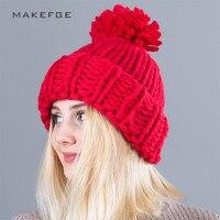 Women Hats Knitting Wool Ball Skullies Beanies Casual Warm Hat Women Autumn Winter 2017 Cute Weave