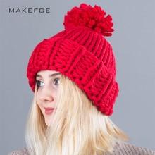 Mulheres chapéus de Tricô Bola de Lã Skullies Gorros Chapéu Morno Ocasional Inverno  mulheres Outono de 41c9690e719