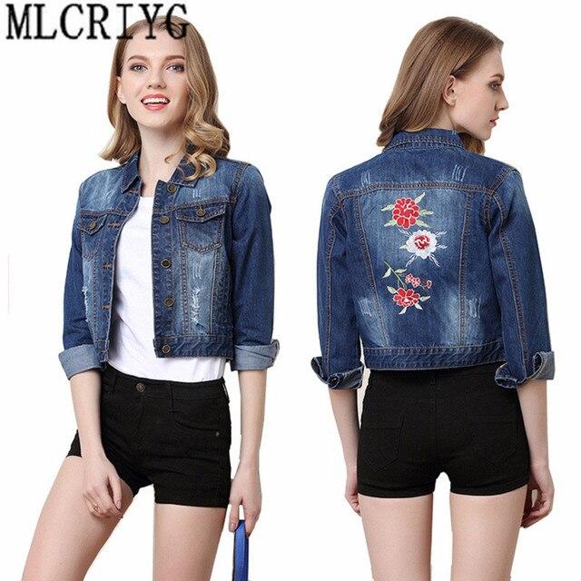 Short Denim Jacket Women's Spring Jackets 2019 Fashion Embroidery Jeans Jacket Women Coat Female Autumn chaqueta mujer YQ068