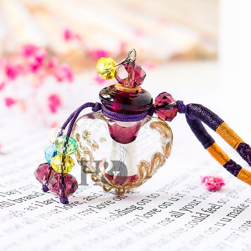 H & D Schöne Murano Kristall Glas Ätherisches Öl Diffusor Herz Parfüm Flasche Halskette Beste Handgemachtes Geschenk Für Frauen & mädchen