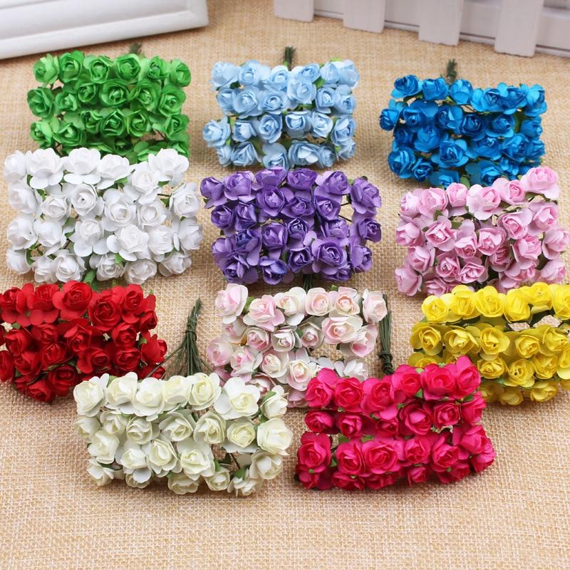 144Pcs 1cm Mini aranyos papír Rose kézzel készített mesterséges virág esküvői dekoráció DIY koszorú ajándék Scrapbooking kézműves hamis virág