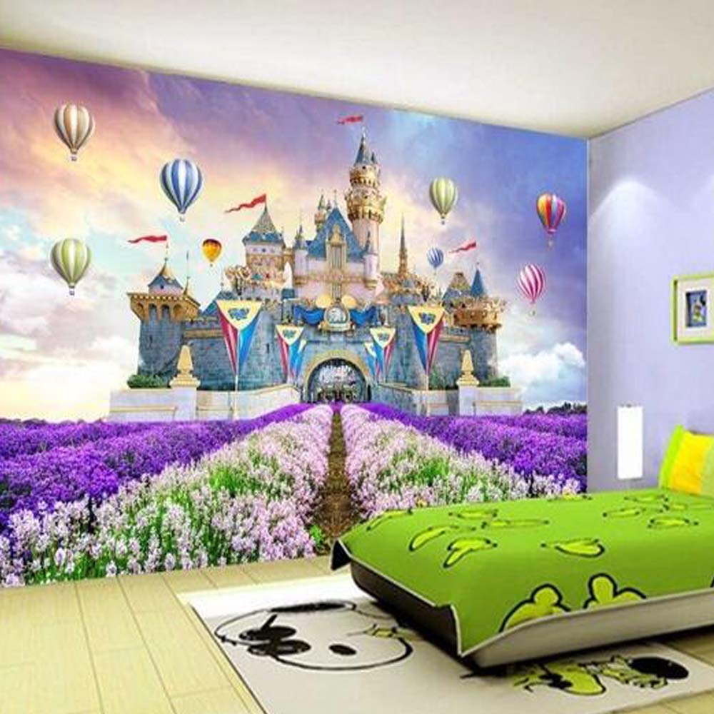Kids bedroom wallpaper purple flower ballon towe castle for Castle mural kids room