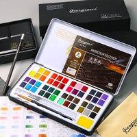 48 цвета Твердые краска на водной основе набор металлический железный ящик Акварельная краска пигмент Карманный Набор для рисования с 7 пода...