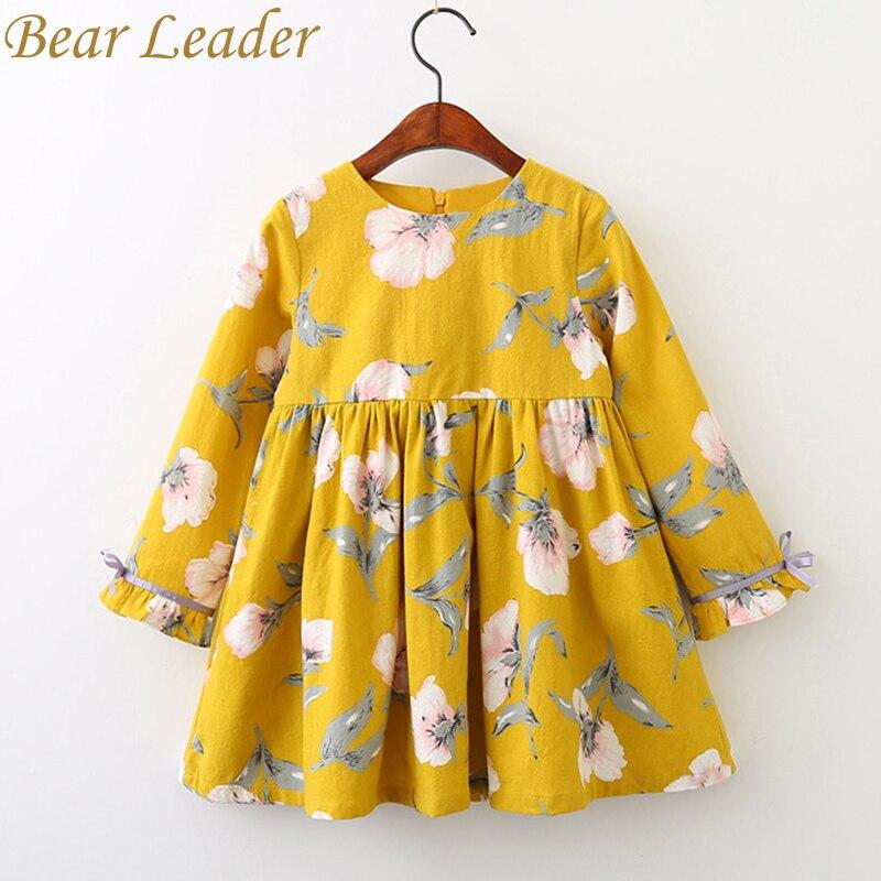 Bär Führer Mädchen Kleid 2018 Marke Prinzessin Kleider Herbst Stil Langarm Blumen Druck Design für Kinder Kleidung