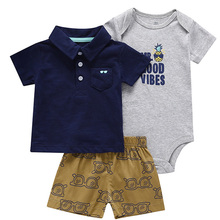Boy Baby Clothing Set 3 Pieces for Summer 6M to 24M Bebes Suit Short Sleeve Robe+ Polo Pocket Shirt+Casual