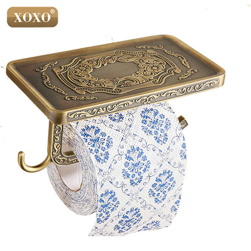 XOXOWholesale And Retail Antique Carving Toilet Roll Paper Rack Phone Shelf Wall Mounted Bathroom Paper Holder And Hook13086B