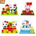 LOZ Девушки Милые Игрушки Котенок Кошка Hello Kitty Строительные Блоки Фигурки Китти Белый Образовательные Игрушки Собрать Кирпич Комплекты