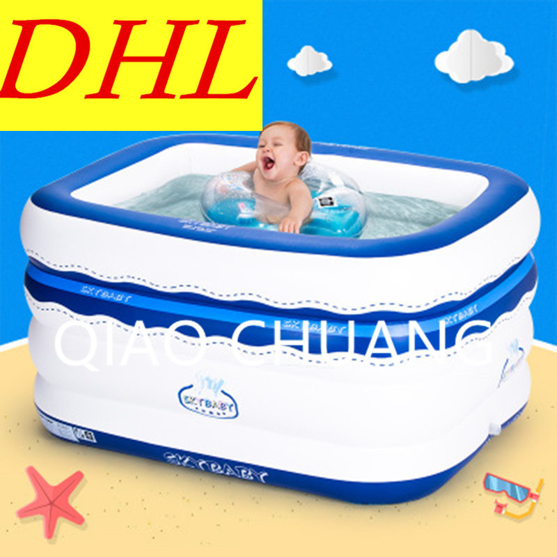 Marine Ball Pool Baby Paddling Pools Rectangle Four Layers Inflatable Bath Tub PVC Thicken Cartoon Printing Swimming Pool G991