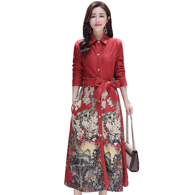 Vintage Printing Suede   Trench   Coat For Women Plus Size 3XL Elegant Windbreaker Single-Breasted Long Coat Women Trenchs C5554