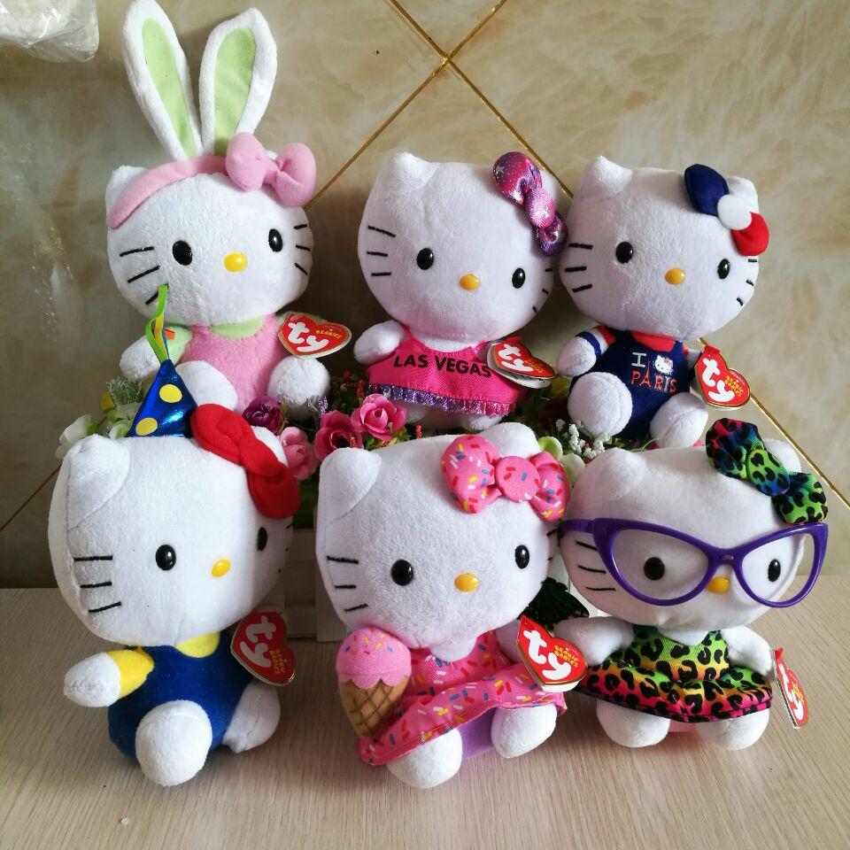 Plush Doll Hello Kitty Pink Grid Skirts Cat With 1 Boneka Kucing Ty Beanie Babies 15 Cm 6 Mainan Mewah Anak
