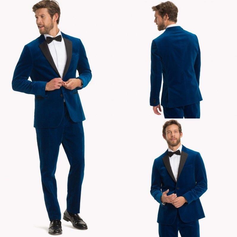 Blue Velvet Men's Prom Dinner Tuxedos Coat Pants Double Vent Party Groom Suits