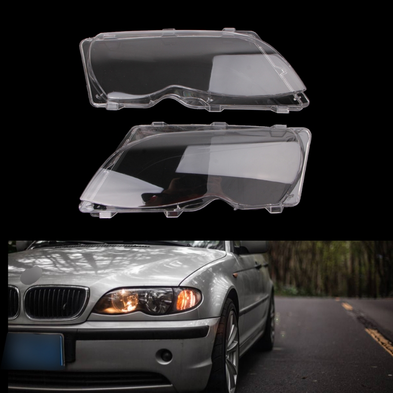 New 2 Pcs/Pair Headlight Lenses Replacement Left&Right Headlamp For BMW E46 4 DR