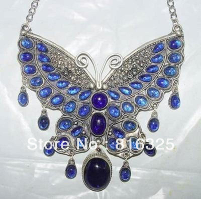 Fast SHIPPING>>Fancy tibet silver inlay blue Jade Butterfly Necklace #23 (A0430)