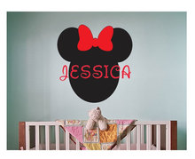 Hot Selling Minnie Mouse Head Personalized Name Wall Decal Girls Kids Nursery Vinyl Stickers Lovely Custom DecorSYY311