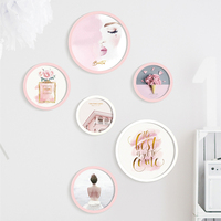 Simple Pink Theme Wall Hanging Photo Frame Set For Female Creative Home Decor Picture Frame Round Photo Frames Combination