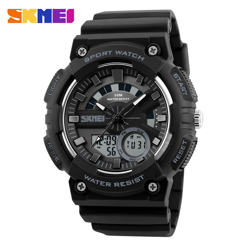 SKMEI Men Sports Watches Chrono Back Light Watch Shock Resistant Fashion Wristwatches 50M Waterproof Relogio Masculino 1235