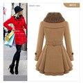 Women Long Coats Dress 2016 Winter Warm Womens Woolen Coats Faux Fur Collar Double Breasted Ladies Jackets Plus Xxxxl Overcoats