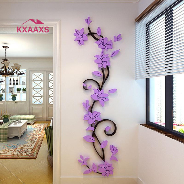Charmant Vine Wall Stickers Home Decor Large Paper Flowers Living Room Bedroom Wall  Decor Sticker On The