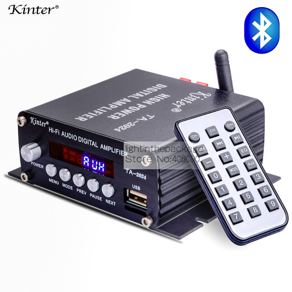 Kinter TA-2024 Amplifier Audio Speaker Car Bluetooth Class-D Digital Amplifier 20W Player+Remote Controller +3A Power Supply