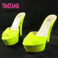 Free Shipping Candy Color Neon Japanned Leather One Piece Comfortable Ultra High Heels Sandals 10 35