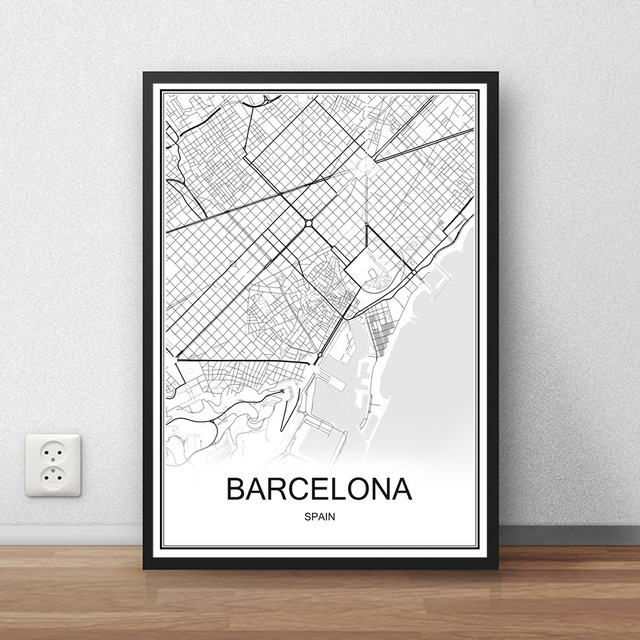 Barcelona spain city street map print poster abstract coated paper bar cafe pub living room home