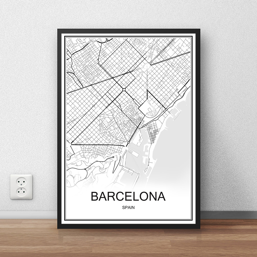 BARCELONA Spain City Street Map Print Poster Abstract Coated Paper Bar Cafe Pub Living Room Home Decor Wall Sticker 42x30cm