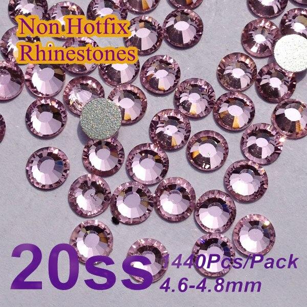 Free Shipping Nail Art Rhinestone Lt.rose Color SS20(4.8-5.0mm) 1440pcs/pack Non Hotfix Flatback Crystal Stones