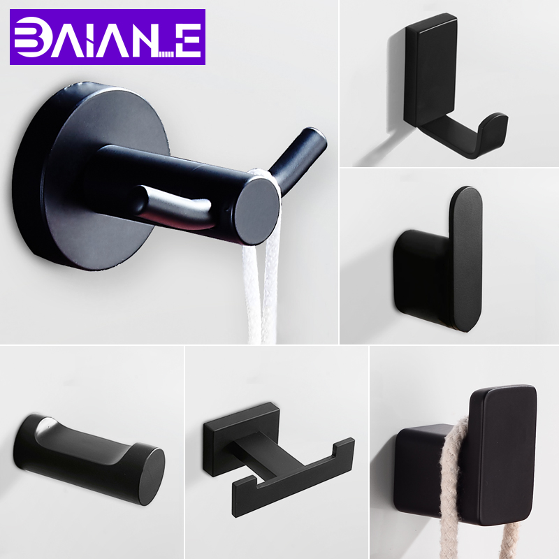 Robe Hook Black Stainless Steel Bathroom Hook For Towels Bag Hat Wall Mounted Double Clothes Coat Hook Wall Hanger Bath Hardware