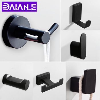 Robe Hook Black Stainless Steel Bathroom Hook for Towels Bag Hat Wall Mounted Double Clothes Coat Hook Wall Hanger Bath Hardware 2019 vintage black towel hook wall mounted coat hanger bathroom cloth hook key bag hat hanger robe hook