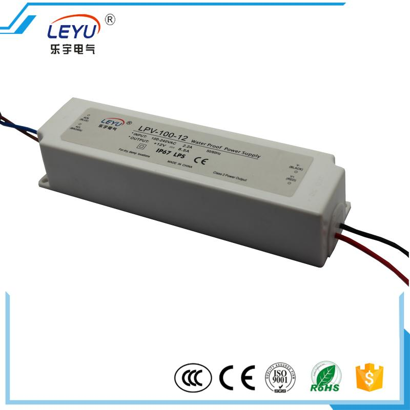 LEYU Led driver 100W 24V 4.2A IP67 level LPV-100-24 constant voltage waterproof power supply 90w led driver dc40v 2 7a high power led driver for flood light street light ip65 constant current drive power supply