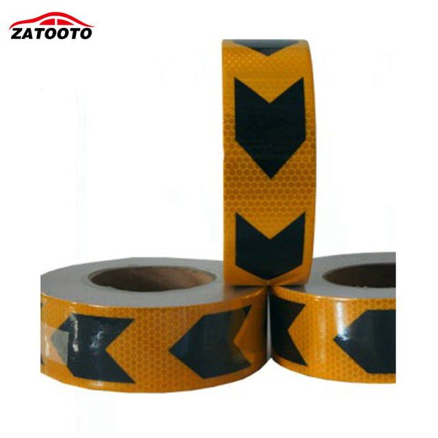 "2""*147' (5cm*45m ) Black Yellow Arrow Reflective Safety Warning Conspicuity Tape Film Sticker truck self adhesive tape"