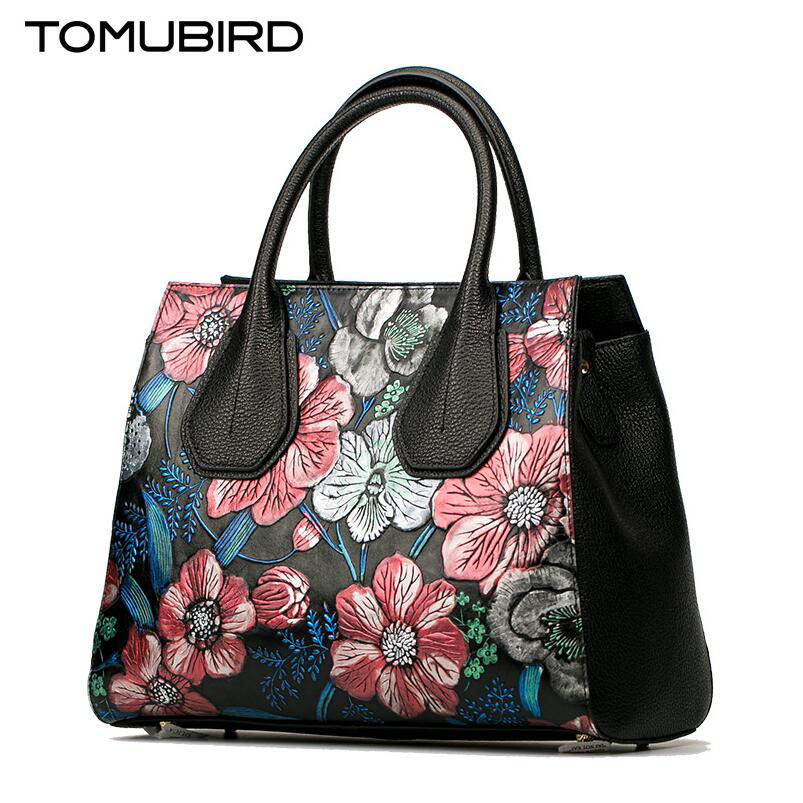 TOMUBIRD new superior cowhide leather Painting Genuine leather Embossed Luxury fashion women Leather Handbags Tote leather tomubird 2017 new superior cowhide leather painting genuine leather embossed women leather handbags tote leather shoulder bag