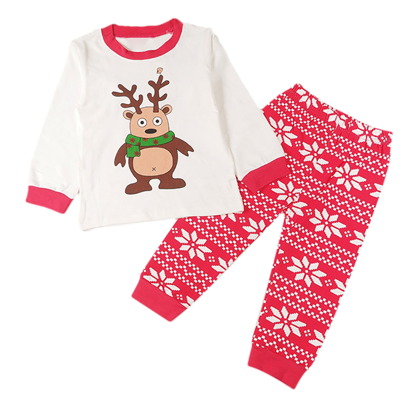 Cute Newborn Baby Girls Christmas Elk 2pc Suit Infants Baby Children clothes girls T Shirt Pants X-mas Wear Pajamas Sleep Wear