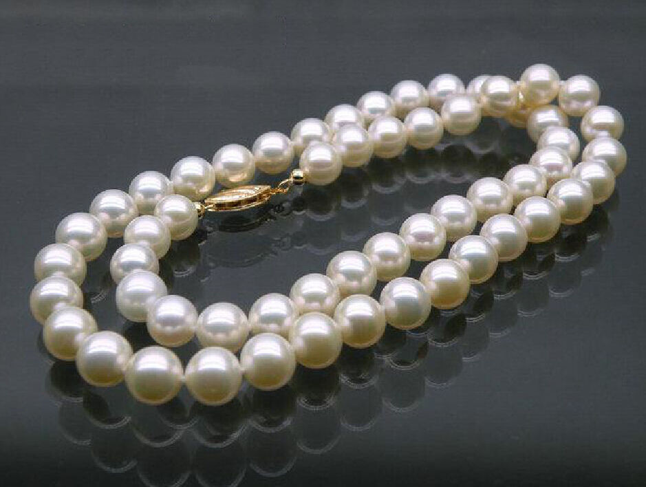 AAA 7 MM white AKOYA NATURAL PEARL NECKLACE 18 14K CLASPAAA 7 MM white AKOYA NATURAL PEARL NECKLACE 18 14K CLASP