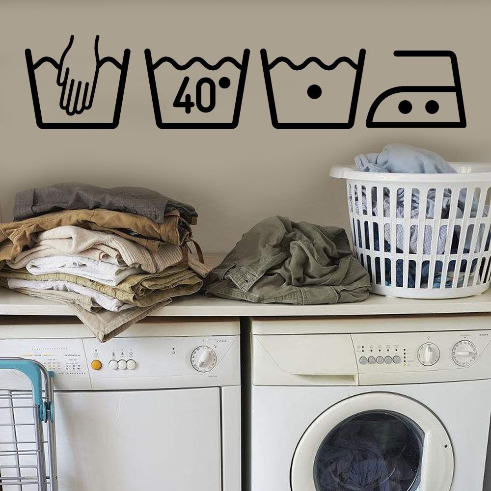 DIY Washing machine sign Removable Art Wall Decals Vinyl Decorative Mural 3D Wall Stickers Kitchen Bathroom Home Decor