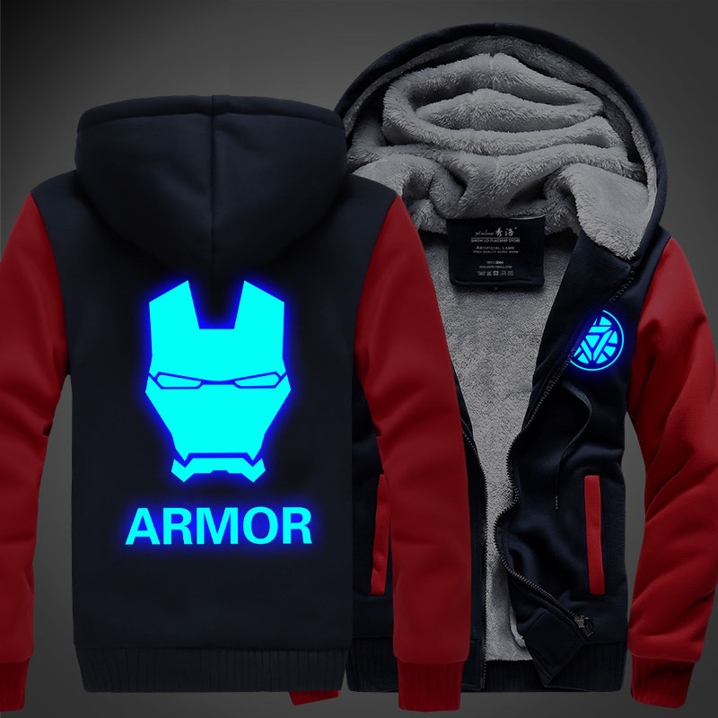 New Anime hoodie light armor thick hooded Zipper Men Sweatshirts winter jackets and coats Iron Man