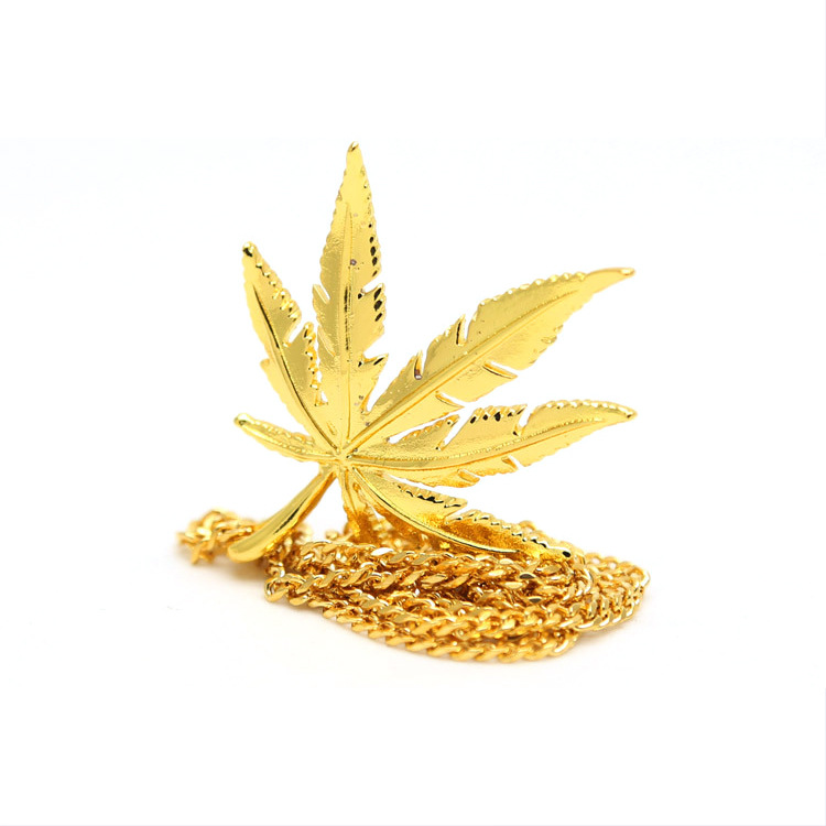 Men Women Charm Hemp Leaf Pendants Necklaces Golden Weed Herb Chains Hip Hop DJ Bar Dance Bling Jewelry Gifts