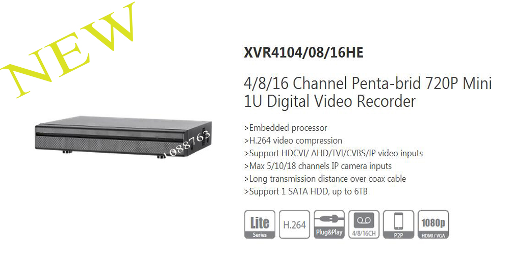 DAHUA NEW Product 4/8/16 Channel Penta-brid 720P Mini 1U Digital Video Recorder Without Logo XVR4104HE/XVR4108HE/XVR4116HE dahua penta brid xvr xvr4104hs support